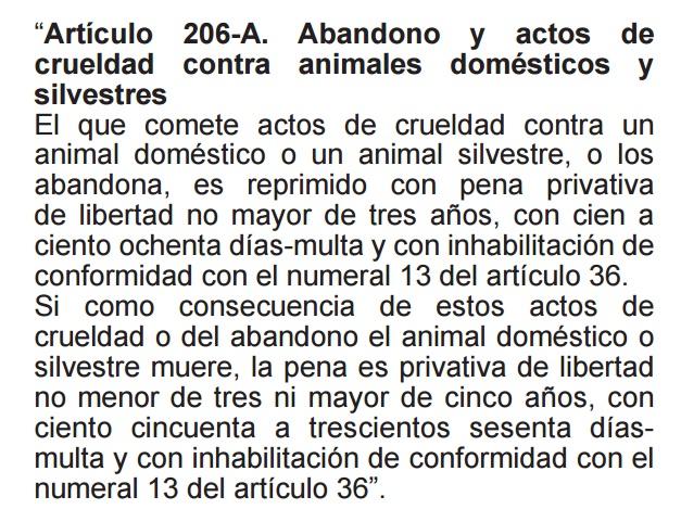 Ley 30407, Ley de protección y bienestar animal.