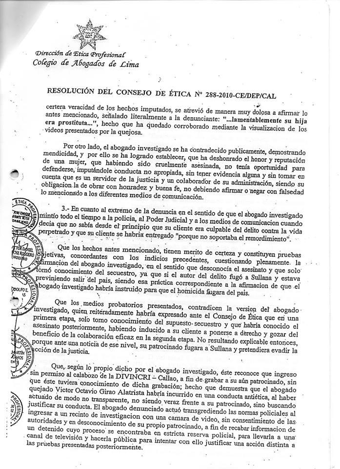Resolucion del Consejo de ética sancion a un abogado por recomendar a su cliente esconder un cadaver